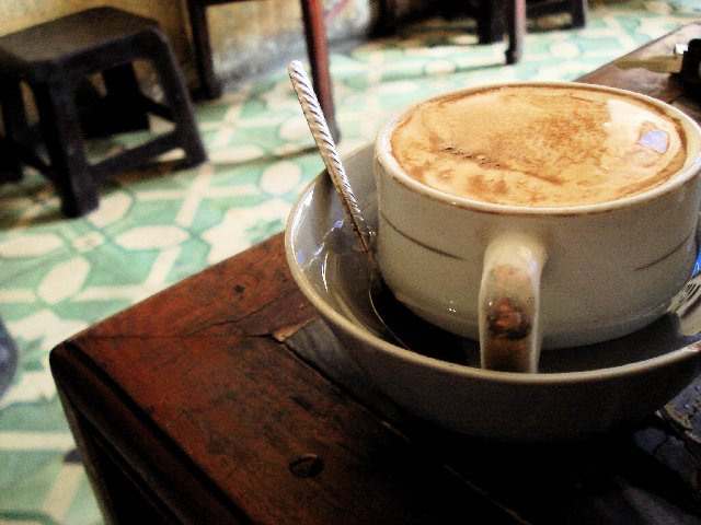 A cup of hot egg coffee at Giang cafe, Yen Phu St., near the Old Quarters of Hanoi