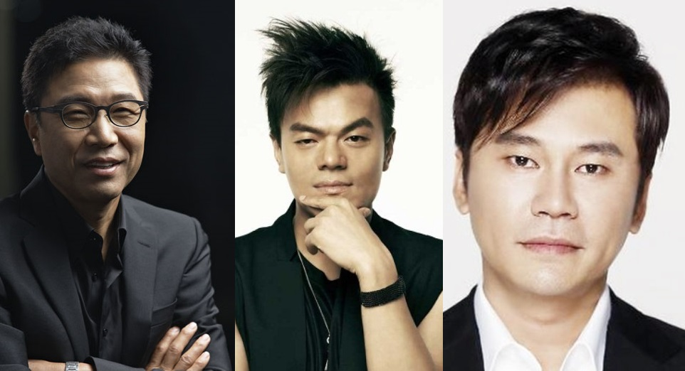 The big three entertainment agencies SM, JYP and YG led by Lee SooMan, Park JinYoung and Yang HyunSuk respectively