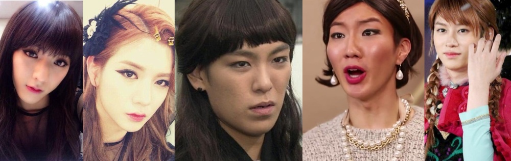 BTOB Minhyuk and NU'EST Ren team up to become Boys' Day, dancing Girls' Day's Something. T.O.P of Big Bang and Lee SeungHoon of WINNER cross dresses in funny drama parodies. Lastly is Super Junior's Kim HeeChul, the creator of cross dressing trend.
